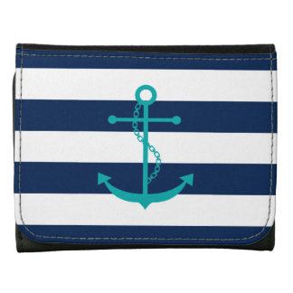 Teal Anchor on Blue Stripes Wallets