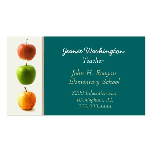 Teal and Apples Teacher's Business Card