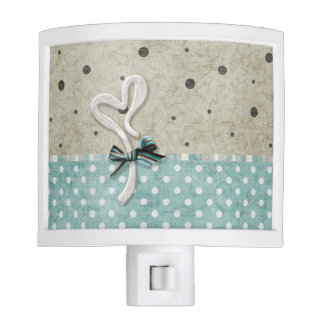 Teal and Beige Floral and Polka Dot Nite Lites