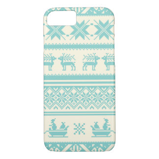 Teal and Beige Ugly Christmas Sweater patterns iPhone 7 Case