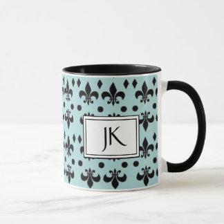 Teal and Black Anchor Textile Coffee Mug