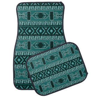 Teal And Black Aztec Pattern Car Mat