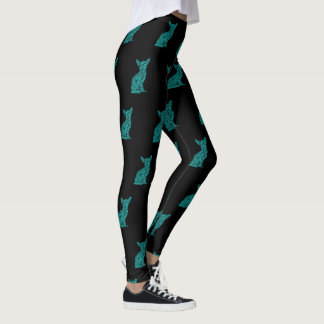 Teal And Black Chihuahua Silhouette Leggings