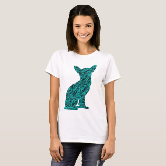 Teal And Black Chihuahua Silhouette T-Shirt