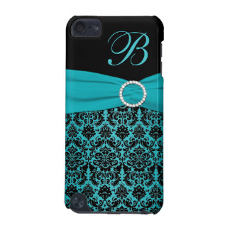 Teal and Black Damask Monogrammed Touch iPod Touch (5th Generation) Case