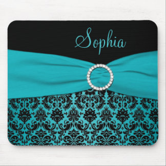 Teal and Black Damask Mousepad