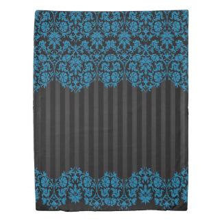 Teal and Black Damask Pattern Design Duvet Cover