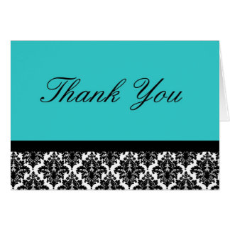 Teal and black damask thank you card