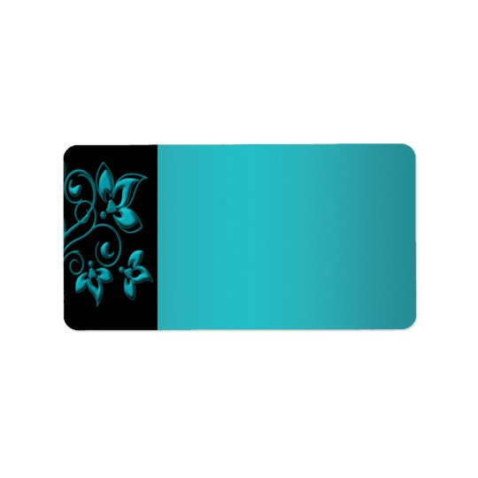 Teal and Black Floral Address Label