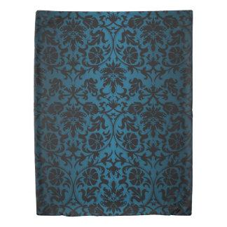 Teal and Black Floral Damask Pattern Design Duvet Cover