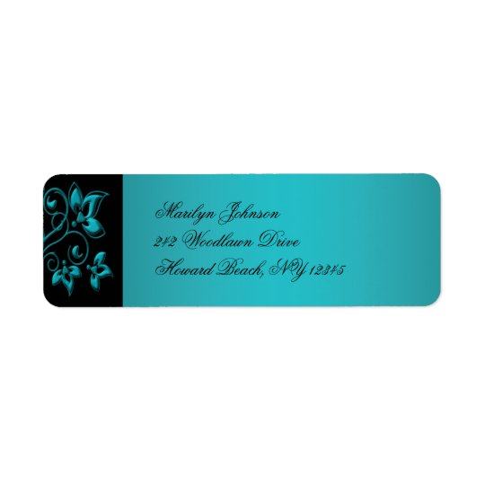 Teal and Black Floral Return Address Label