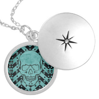 Teal and black grunge chevron skull silver plated necklace