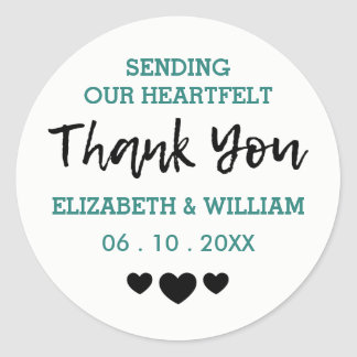 Teal and Black - Hearts Thank You Stickers Wedding
