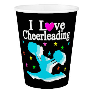 TEAL AND BLACK I LOVE CHEERLEADING PAPER CUPS PAPER CUP