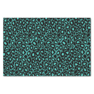 Teal and Black Leopard Animal Print Tissue Paper