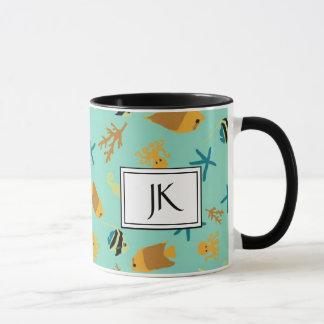 Teal and Black Oceanic Textile Coffee Mug
