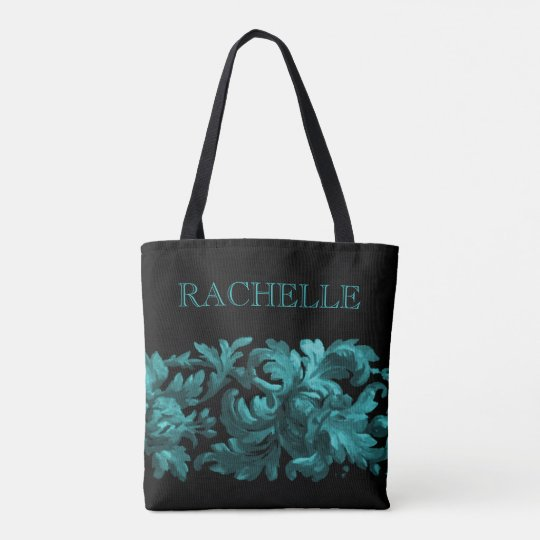 Teal and Black Painted Baroque Border with Name Tote Bag