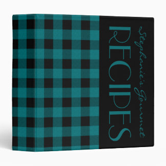 Teal and Black Plaid Recipe Binder