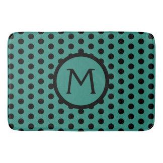 Teal and Black Polka Dot Monogram Bath Mat