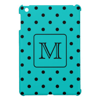 Teal and Black Polka Dot Pattern Custom Monogram Case For The iPad Mini