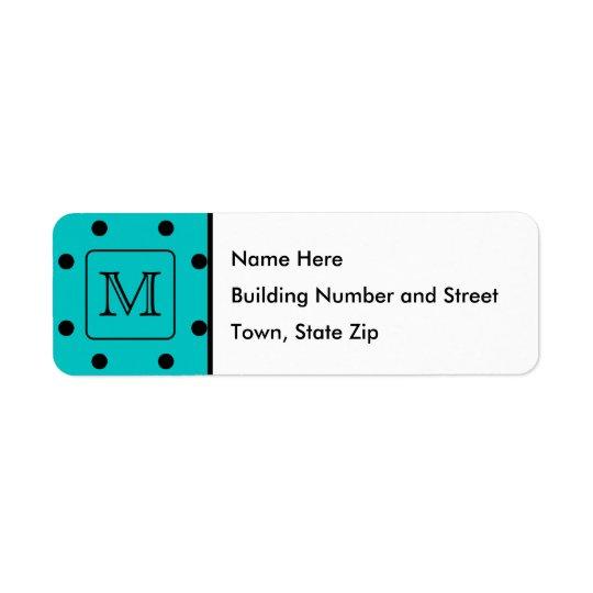 Teal and Black Polka Dot Pattern. Custom Monogram. Return Address Label