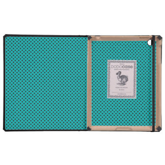 Teal and Black Polka Dot Pattern iPad Covers
