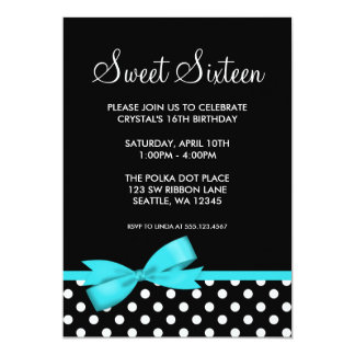 Teal and Black Polka Dots Bow Sweet 16 Birthday Custom Invite