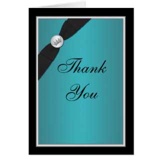 Teal and Black Quinceanera Thank You Note Card