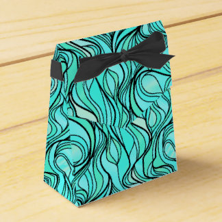 Teal and Black Stained Glass Favor Box