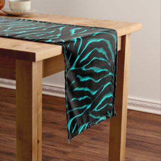 Teal and Black Zebra Striped Festive Table Runner