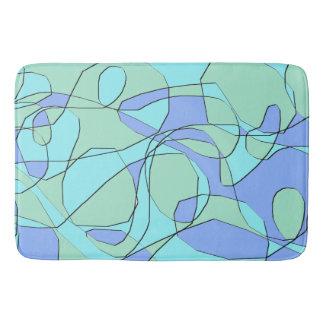 Teal and Blue Abstract Modern Bath Mat
