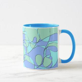 Teal and Blue Abstract Modern Coffee Mug