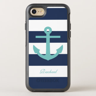 Teal and Blue Anchor and Stripes Pattern OtterBox Symmetry iPhone 8/7 Case