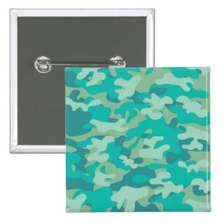 Teal and Blue Camo 2 Inch Square Button