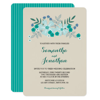 Teal and Blue Flowers I Wedding Invitation