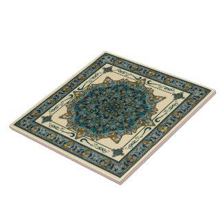 Teal and Blue Glass Window Mandala Ceramic Tile
