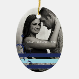 Teal and Blue Photo Engagement Ceramic Ornament