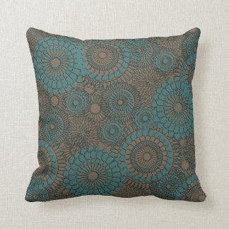 Teal and Brown 1054 American MoJo Pillow