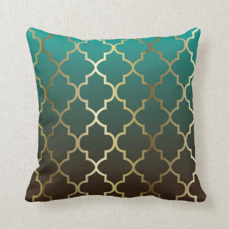 Teal and Brown Blend | Gold Quatrefoil Pattern Throw Pillow