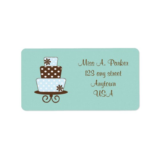 Teal and Brown Cake Wedding Address labels