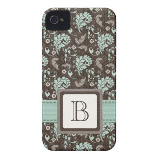 Teal and Brown Damask Monogrammed Blackberry Bold  iPhone 4 Cover