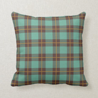 Teal and brown plaid pillow