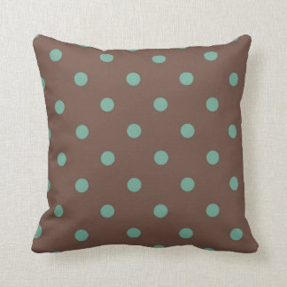 Teal and brown polkadot pillow