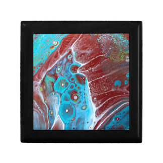Teal and Copper Acrylic Pour Art Gift Box