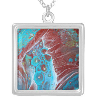 Teal and Copper Acrylic Pour Art Silver Plated Necklace