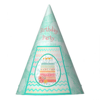 Teal and Coral Birthday Cake Folk Art Paper Hat