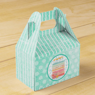 Teal and Coral Birthday Cake Whimsical Favor Box