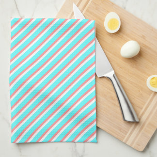 Teal and Coral Stripes Kitchen Towel