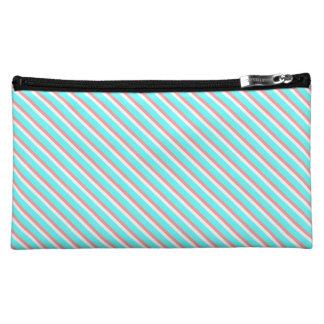 Teal and Coral Stripes Makeup Bag