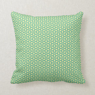 Teal and cream geometric pillow